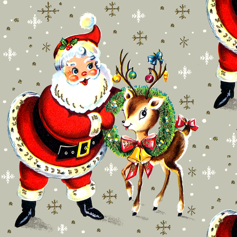 Merry Christmas xmas Santa Claus deer wreaths baubles bows bells ribbons snowflakes snow mistletoe vintage retro kitsch fabric by raveneve on Spoonflower - custom fabric