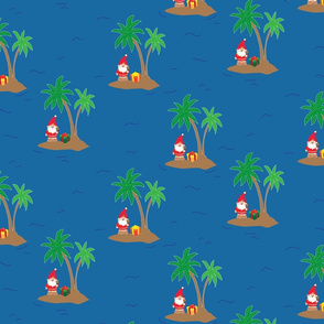 Santa Claus on an island with a palm tree and a gift box in the middle of the ocean. Fun tropical Christmas print.
