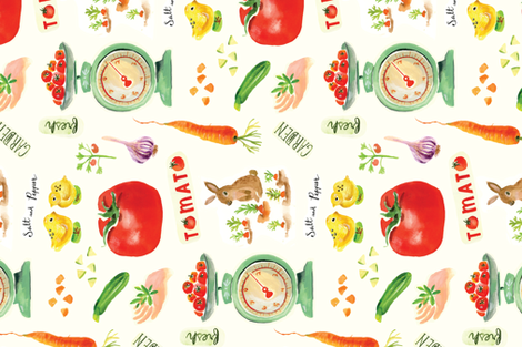 Farmers Market Bounty fabric by chickadeedeedee on Spoonflower - custom fabric