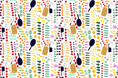 Veggies in the kitchen fabric by janetdrummond on Spoonflower - custom fabric