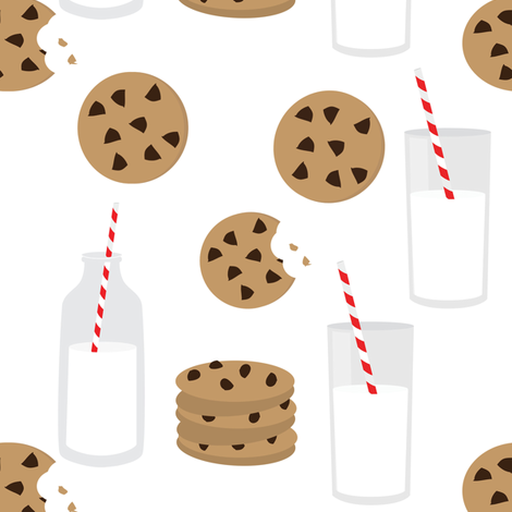 Milk and Cookies // White fabric by hipkiddesigns on Spoonflower - custom fabric