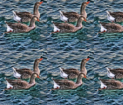 Geese On The Water fabric by dogdaze_ on Spoonflower - custom fabric