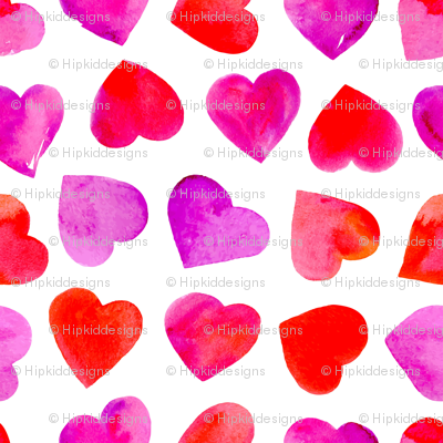 Ombre Watercolor Hearts