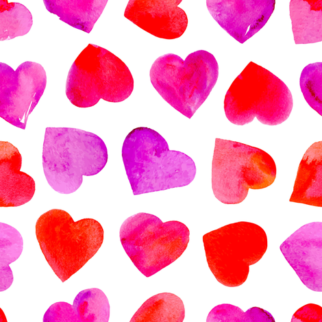 Ombre Watercolor Hearts fabric by hipkiddesigns on Spoonflower - custom fabric