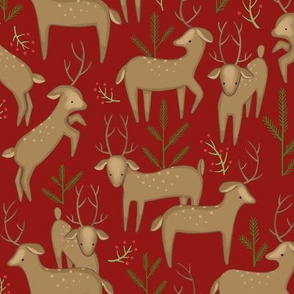 deer with pine, red background