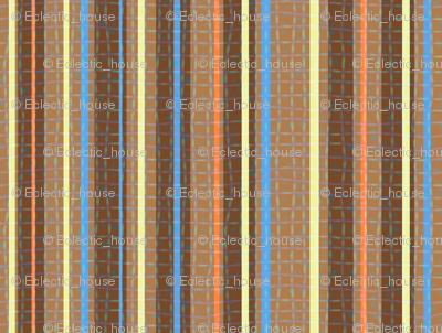 Textured Chocolate Orange Blue Yellow Candy Stripe