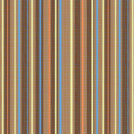 Textured Chocolate Orange Blue Yellow Candy Stripe fabric by eclectic_house on Spoonflower - custom fabric