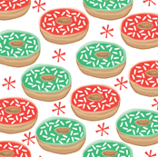red and green christmas donuts