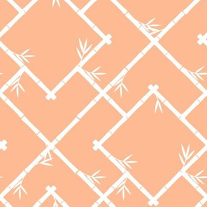 Bamboo Chinoiserie Lattice in Peach + White