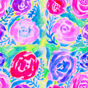 Watercolor Rose Tiles in Spring Bloom
