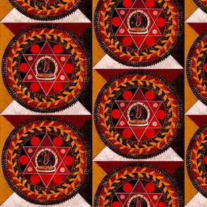 Mandala in red and gold with Tibetan dancer