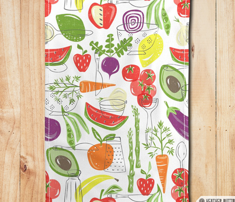 Farm Fresh Tea Towel - White