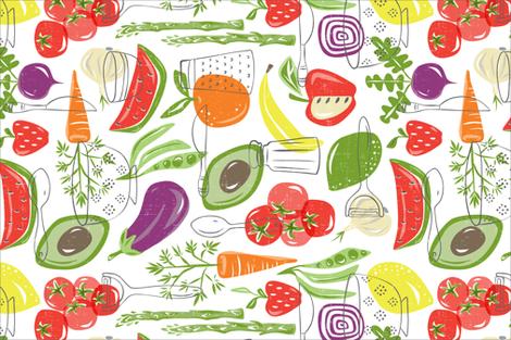 Farm Fresh Tea Towel - White fabric by heatherdutton on Spoonflower - custom fabric