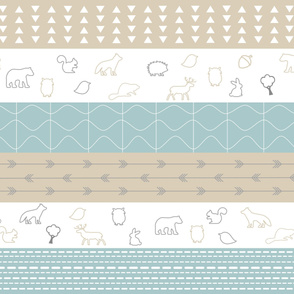 Woodland Animals Stripes Light Blue