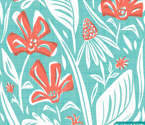 Eden - Botanical Tea Towel Aqua