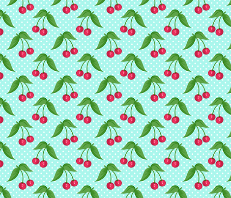 Cherry Ditsy Aqua fabric by littlerhodydesign on Spoonflower - custom fabric
