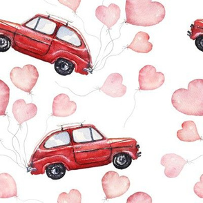 Red Vintage Car with Heart Balloons