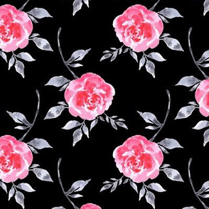 Red Roses on Black Ground