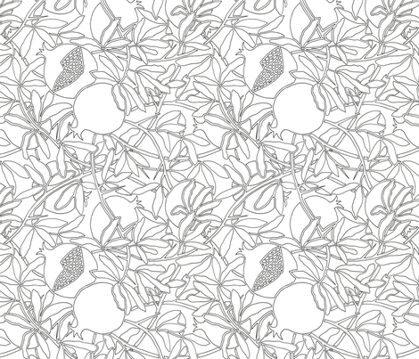 Pomegranate Tree Branches with Fruit and Leaves in Coloring Outlines fabric by theplumgrove on Spoonflower - custom fabric