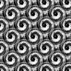 black spirals on white