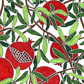 Pomegranate Branches with Fruit, Leaves, Thorns on White Background