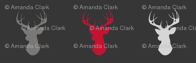Deer- Bright Red, Grey, Black/Charcoal