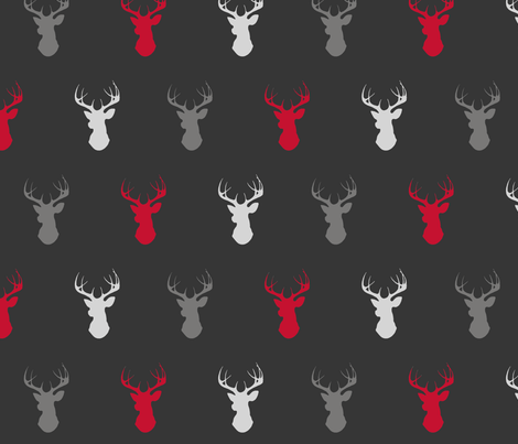 Deer- Bright Red, Grey, Black/Charcoal fabric by sugarpinedesign on Spoonflower - custom fabric