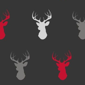 Deer- Bright Red, Grey, Black/Charcoal