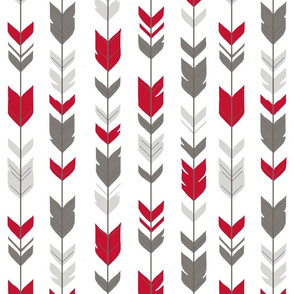 Arrow Feathers - Bright Red, Grey, and White