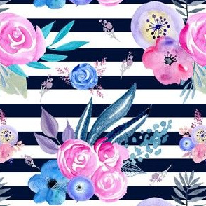 Watercolour Floral navy pinstripe, eclectic blooms