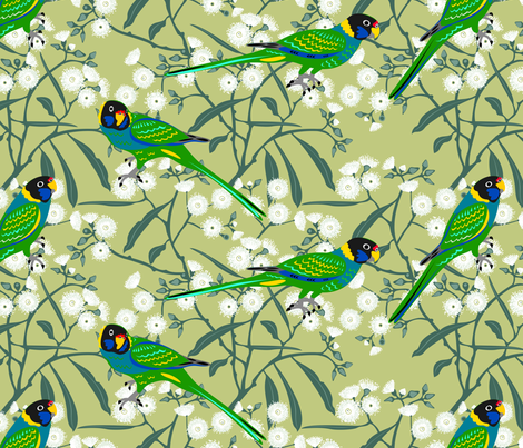 Ringneck parrots fabric by yellowstudio on Spoonflower - custom fabric