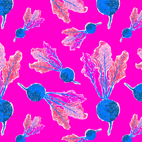 Feel the Beet in Electric Pink + Blue fabric by elliottdesignfactory on Spoonflower - custom fabric