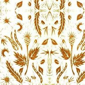 Fall Ocher Botanical Block Print