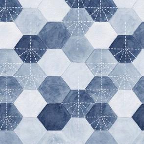 Hexagons - blue