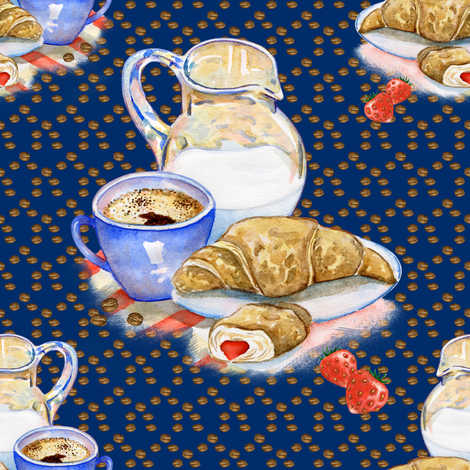 FRENCH BREAKFAST COFFEE CROISSANT DEEP BLUE fabric by floweryhat on Spoonflower - custom fabric