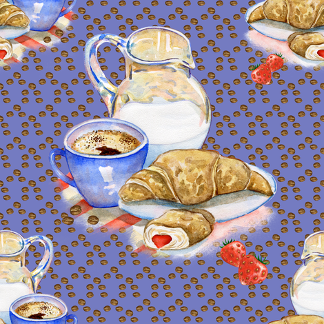 FRENCH BREAKFAST COFFEE CROISSANT LILAC blue fabric by floweryhat on Spoonflower - custom fabric