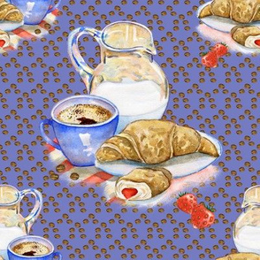FRENCH BREAKFAST COFFEE CROISSANT LILAC blue