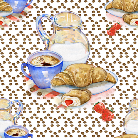 FRENCH BREAKFAST COFFEE CROISSANT WHITE fabric by floweryhat on Spoonflower - custom fabric