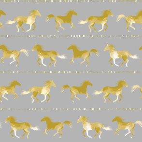 Horses fabric GREY by Mount Vic and Me