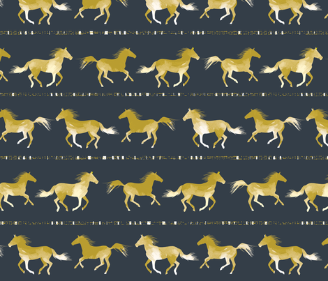 Horses fabric DARK by Mount Vic and Me fabric by mountvicandme on Spoonflower - custom fabric