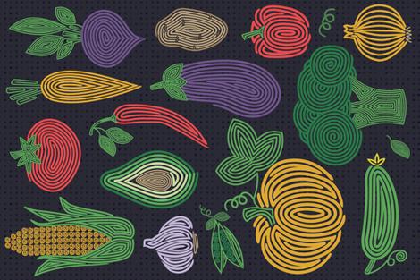 Hypno veggies fabric by runlenarun on Spoonflower - custom fabric