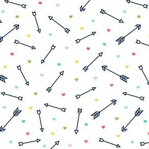 arrows & hearts multi-color navy blue - arrow love