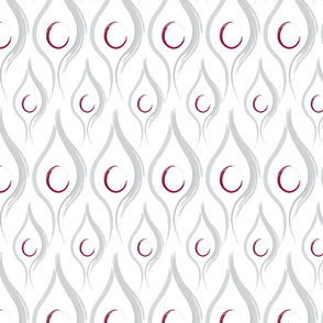 Silver and Red  Leaf Design