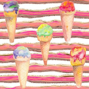 WATERCOLOR ICE CREAM CONES AND STRIPES ON WHITE
