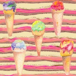 WATERCOLOR ICE CREAM CONES AND STRIPES VANILLA