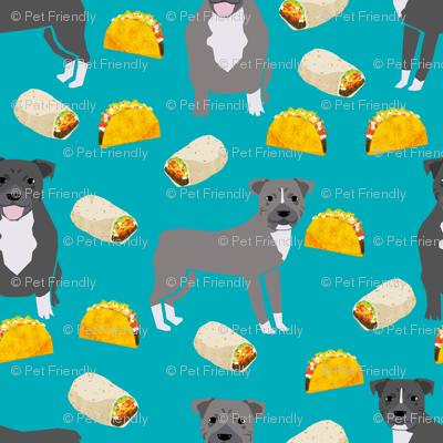 pitbull taco fabric - dogs and burritos design - teal