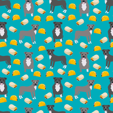 pitbull taco fabric - dogs and burritos design - teal fabric by petfriendly on Spoonflower - custom fabric