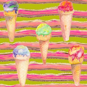 WATERCOLOR ICE CREAM CONES AND STRIPES CHARTREUSE GREEN