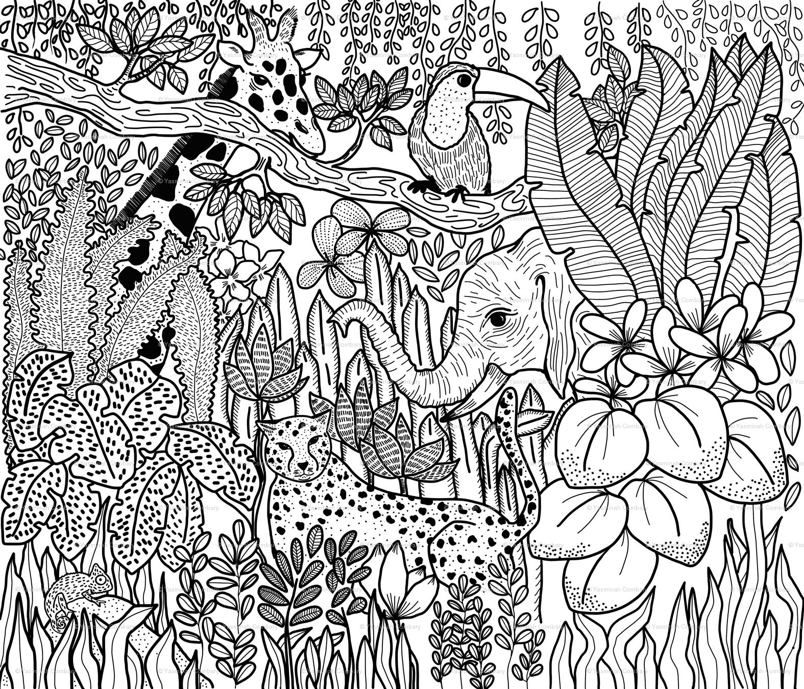 Jungle_Coloring_Book wallpaper - yasminah_combary - Spoonflower