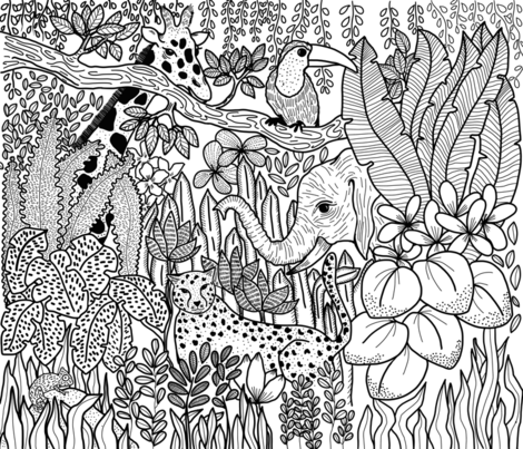 Jungle_Coloring_Book fabric by yasminah_combary on Spoonflower - custom fabric